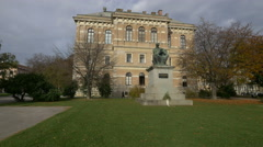 Statue of Strossmayer near Croatian Academy of Sciences and Arts, Zagreb Stock Footage