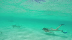 SLOW MOTION: Young woman swimming underwater and snorkeling with sharks Stock Footage