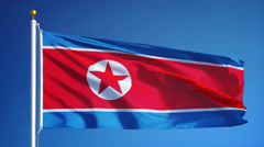 North Korea flag in slow motion seamlessly looped with alpha - stock footage
