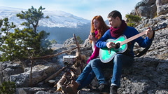 Couple  hiking outdoors at romantic place in mountain 7 - stock footage