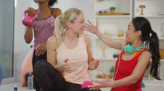 4K Happy young women pose to take a selfie in exercise class Stock Footage