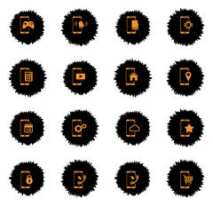 Smartphone simply icons - stock illustration