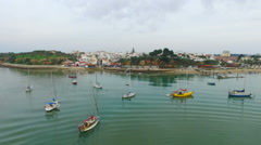Aerial from the harbor from Alvor in Portugal Stock Footage