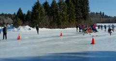 Speed Skaters pass camera in Hawrelak Park, Edmonton, Canada. Stock Footage
