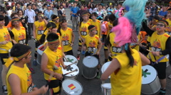 Carnival Asia, drum band, kids play cheerful music, dancing, streets Taipei Stock Footage