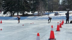 Speed Skaters in slow motion at sprint race in Edmonton, Canada. Stock Footage