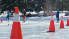 Speed Skater wipes out in slow motion during sprint race. Stock Footage