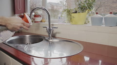 Domestic Male Doing The Household Chores Stock Footage