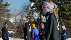 Speed Skaters line up at starting line during sprint race in Edmonton, Canada. Stock Footage
