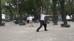 Senior Taiwanese men do tai chi in a park in the early morning, in Taipei - stock footage