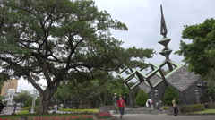 Monument in 228 Peace Memorial Park in Taipei, Taiwan Stock Footage