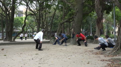 Taiwan, morning exercises, tai chi, fitness in public park Taipei Stock Footage