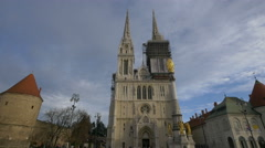 View of Holy Mary Column in front of Zagreb Cathedral, Zagreb, Croatia Stock Footage