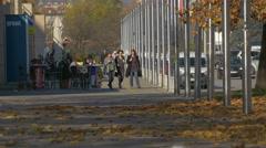 People passing by Spunk bar, on . Hrvatske Bratske Zajednice street, Zagreb Stock Footage