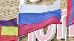 Flag of the Russian Federation develops in the wind Stock Footage