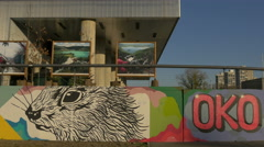 Paintings exhibited at the Museum of Contemporary Art in Zagreb Stock Footage