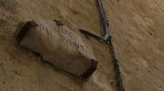Rue du Pontis old street sign carved into rock in Saint-Paul-de-Vence Stock Footage