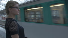 Tourist visiting city using Paris train system. Stock Footage