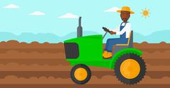 Farmer driving tractor Stock Illustration