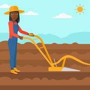 Farmer on the field with plough - stock illustration
