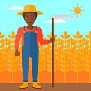 Farmer on the field with scythe - stock illustration