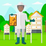 Bee-keeper at apiary - stock illustration