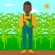Stock Illustration of Farmer holding corn