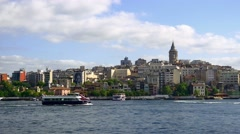 Golden Horn and Galata Tower view in Springtime Stock Footage