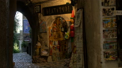 Beatitude souvenir store on Rue Grande in Saint-Paul-de-Vence Stock Footage