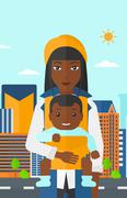 Woman holding baby in sling - stock illustration