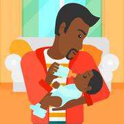 Man feeding baby Stock Illustration