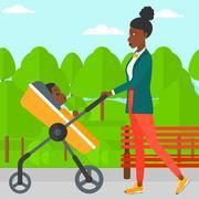 Woman pushing pram - stock illustration
