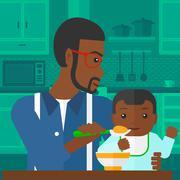 Stock Illustration of Man feeding baby