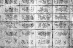 Black and white mortar block wall pattern. - stock photo