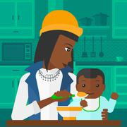 Woman feeding baby - stock illustration