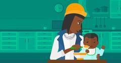 Stock Illustration of Woman feeding baby