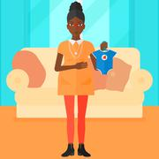 Pregnant woman with clothes for baby Stock Illustration
