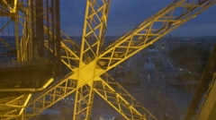Stock Video Footage of Eiffel Tower elevator. Fixed camera viewpoint going up from 2nd to 3rd floor