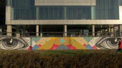 Eyes drawn on a wall at Museum of Contemporary Art in Zagreb - stock footage