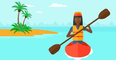 Woman riding in canoe - stock illustration