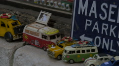 Cars at a souvenir shop in Saint-Paul-de-Vence Stock Footage