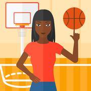 Basketball player spinning ball Stock Illustration
