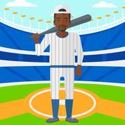 Baseball player with bat - stock illustration