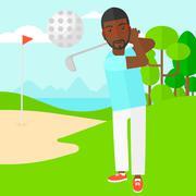 Golf player hitting the ball - stock illustration