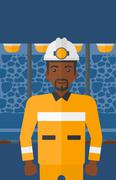 Confident miner in hardhat - stock illustration