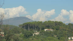 Houses and forest seen from Saint-Paul-de-Vence Stock Footage