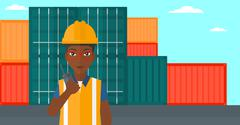 Stevedore standing on cargo containers background - stock illustration