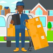 Man delivering boxes Stock Illustration