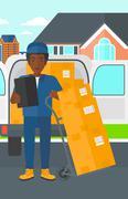 Man delivering boxes - stock illustration