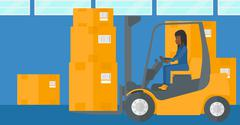 Stock Illustration of Warehouse worker moving load by forklift truck